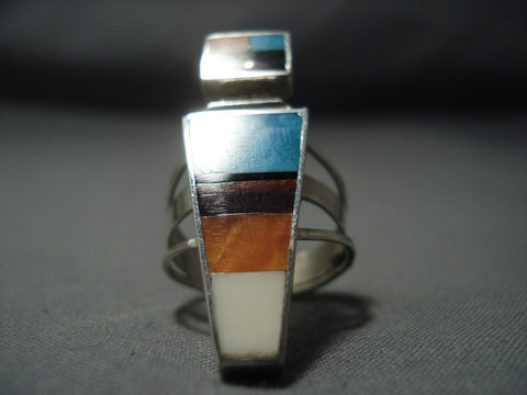 Intricate Vintage Navajo Turquoise Native American Jewelry Silver Maiden Sterling Ring Old-Nativo Arts