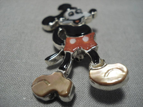 Intricate!! Zuni Turquoise Coral Native American Navajo Micky Sterling Silver Mouse Pendant Pin-Nativo Arts