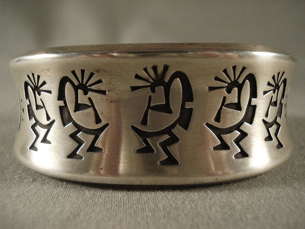 Kokplelli Love Curvilinear Native American Jewelry Silver Bracelet