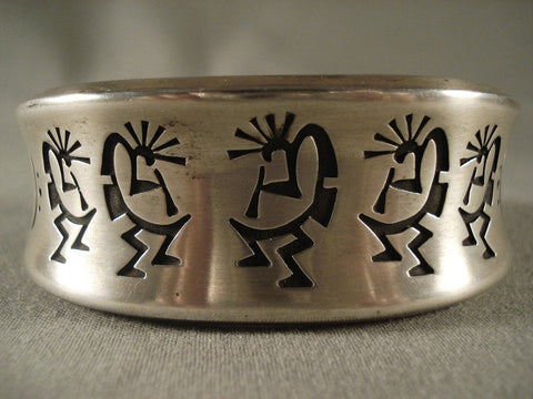 Kokplelli Love Curvilinear Native American Jewelry Silver Bracelet-Nativo Arts