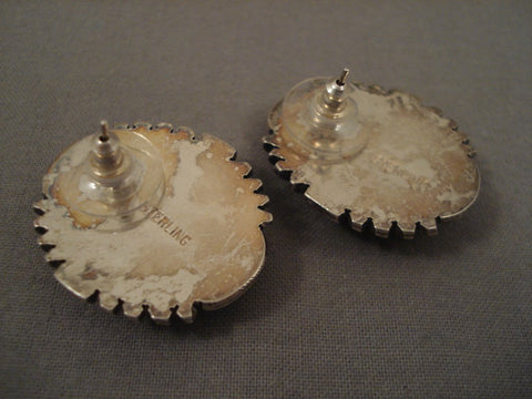 Large Gaspeite Vintage Navajo Sterling Native American Jewelry Silver Earrings-Nativo Arts
