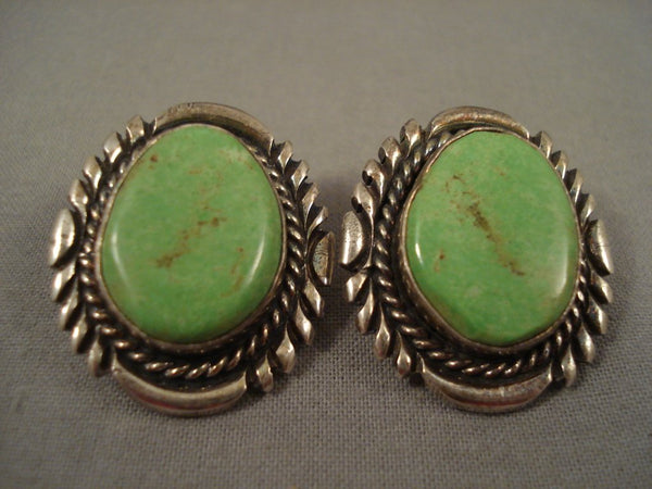 Large Gaspeite Vintage Navajo Sterling Native American Jewelry Silver Earrings