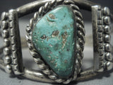 Large Green Turquoise Vintage Navajo Sterling Native American Jewelry Silver Bracelet-Nativo Arts