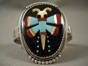 Large Vintage Zuni Dragonfly Inlay Native American Jewelry Silver Bracelet-Nativo Arts
