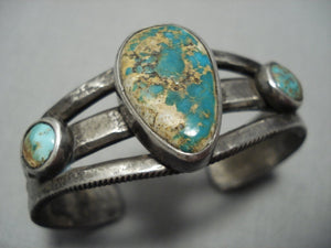 Late 1800's/ Early 1900's Vintage Navajo Native American Jewelry jewelry Ingot Green Turquoise Bracelet-Nativo Arts