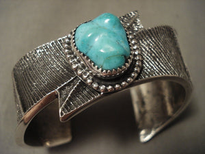 Lightning Bolt Advanced Native American Jewelry Silver Work Navajo Turquoise Bracelet-Nativo Arts