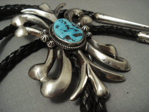 Lightning Bolt Strike Vintage Navajo Sterling Native American Jewelry Silver Bolo Tie Turquoise Old Pawn-Nativo Arts