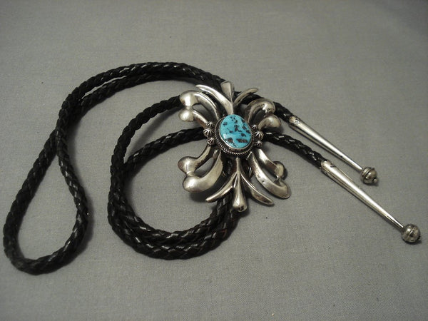 Lightning Bolt Strike Vintage Navajo Sterling Native American Jewelry Silver Bolo Tie Turquoise Old Pawn