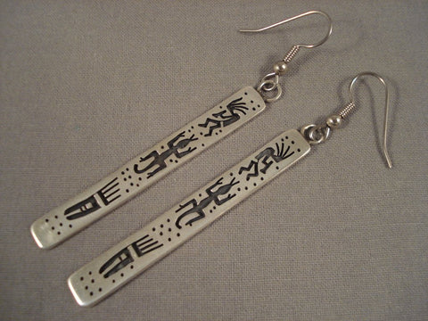 Long 'Dances Of Love' Vintage Hopi Native American Jewelry Silver Kokopelli Native American Jewelry Silver Earrings-Nativo Arts