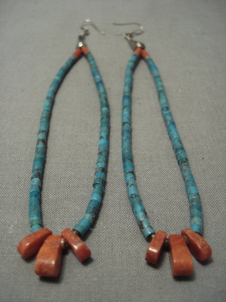 Long Dangle Vinage Navajo Turquoise Sterling Native American Jewelry Silver Earrings Old