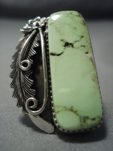 Long Vintage Navajo Pete Johnson Gaspeite Sterling Native American Jewelry Silver Ring-Nativo Arts