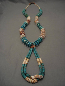 Long Vintage Santo Domingo 22 Turquoise Necklace-Nativo Arts