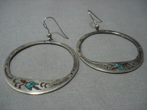 Long Waterbird Vintage Navajo Turquoise Sterling Native American Jewelry Silver Earrings Old-Nativo Arts