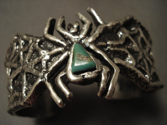 Look At That Native American Jewelry Silver Work Navajo Native American Jewelry Silver Spier Green Turquoise Spider Bracelet-Nativo Arts