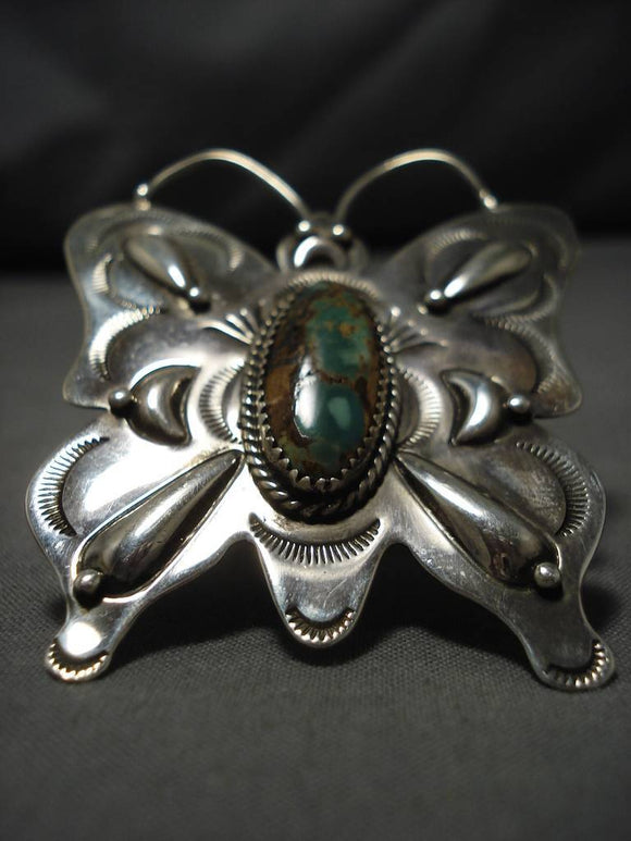 Magnificent Native American Navajo Huge Butterfly Turquoise Dor Ashley Sterling Silver Ring-Nativo Arts