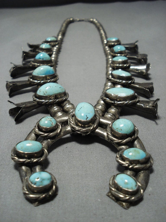 Magnificent Vintage Native American Jewelry Navajo Turquoise Sterling Silver Squash Blossom Necklace-Nativo Arts