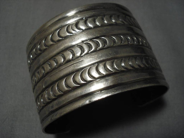 Magnificent Vintage Native American Navajo Early Sun Stampings Sterling Silver Bracelet Old