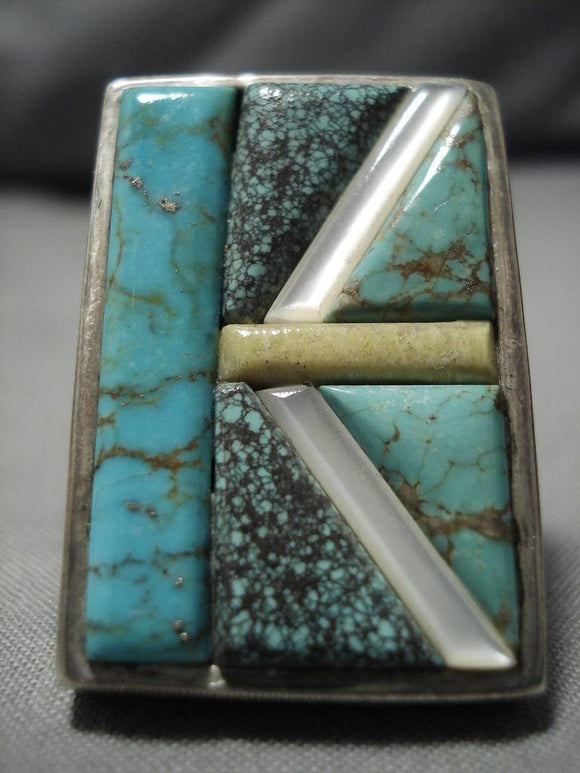 Magnificent Vintage Native American Navajo Inlaid Turquoise Sterling Silver Heavy Ring-Nativo Arts