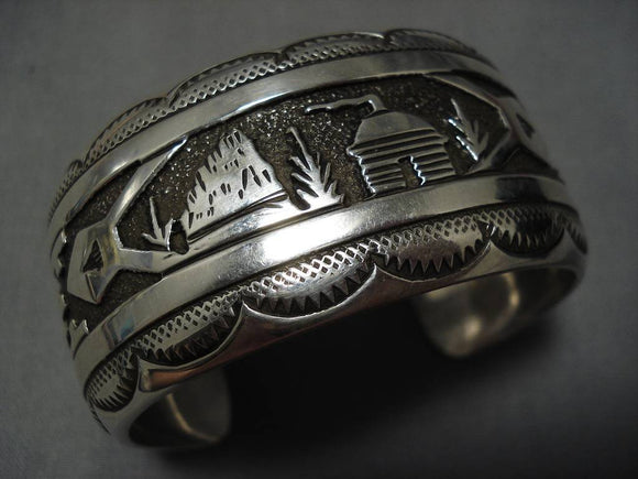 Magnificent Vintage Native American Navajo Sterling Silver Thomas Singer Bracelet Old-Nativo Arts