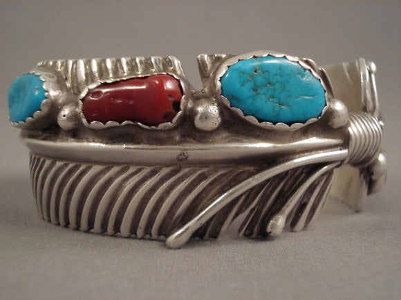 Magnificent Vintage Navajo Blue Gem Turquoise Coral Sterling Native American Jewelry Silver Braclee Told-Nativo Arts