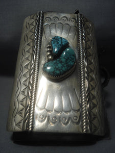 Magnificent Vintage Navajo Green Turquoise Sterling Silver Ketoh Bracelet-Nativo Arts