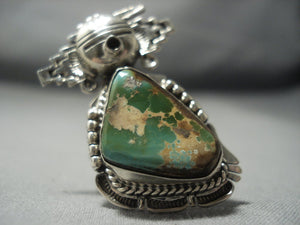 Magnificent Vintage Navajo Kachina Royston Turquoise Native American Jewelry Silver Ring Sterling-Nativo Arts