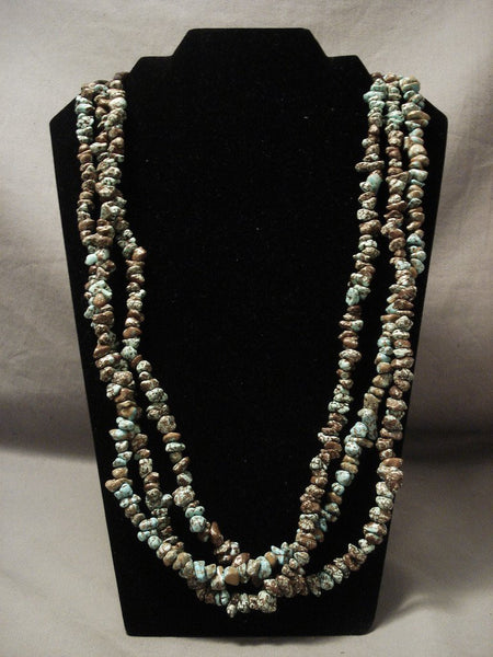 Magnificent Vintage Navajo Native American Jewelry jewelry #8 Turquoise Necklace- Unique Squaw Wrap