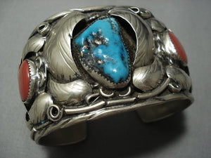 Magnificent Vintage Navajo Native American Jewelry jewelry Domed Coral Turquoise Sterling Silver Bracelet Old-Nativo Arts