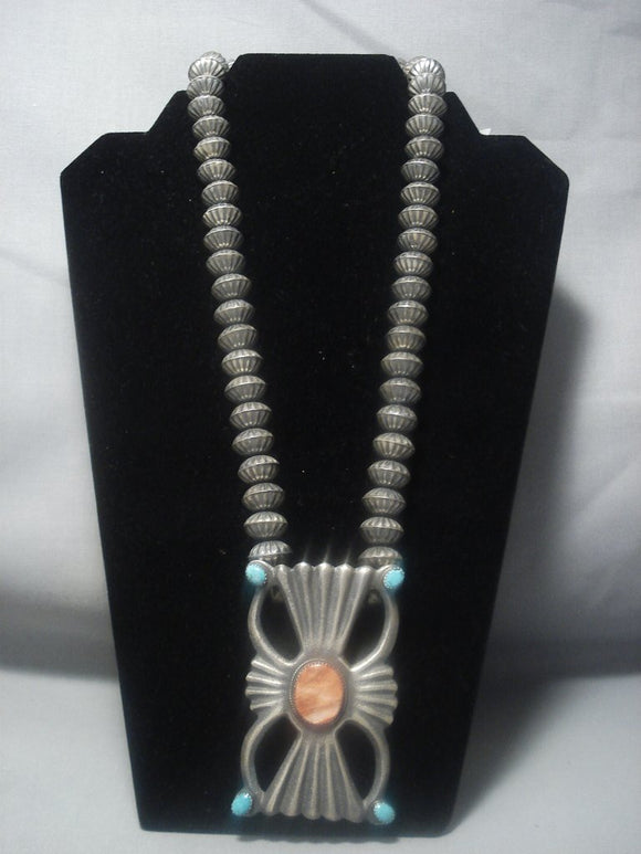 Magnificent Vintage Navajo Native American Jewelry jewelry Spiny Oyster Sterling Silver Sun Ray Necklace-Nativo Arts