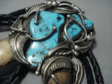 Magnificent Vintage Navajo Native American Jewelry jewelry Turquoise Sterling Silver Morenci Bolo Tie-Nativo Arts