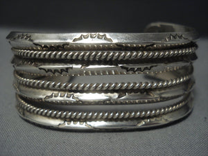 Magnificent Vintage Navajo Quadruple Rail Sterling Native American Jewelry Silver Bracelet-Nativo Arts