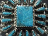 Magnificent Vintage Navajo Turquoise Squared Sterling Native American Jewelry Silver Bracelet-Nativo Arts