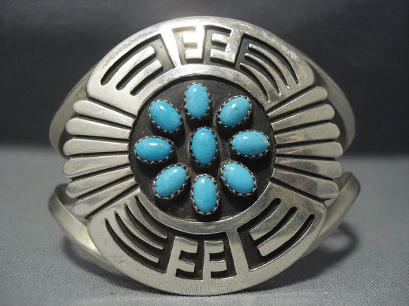Magnificent Vintage Navajo Turquoise Sterling Native American Jewelry Silver Bracelet Old-Nativo Arts