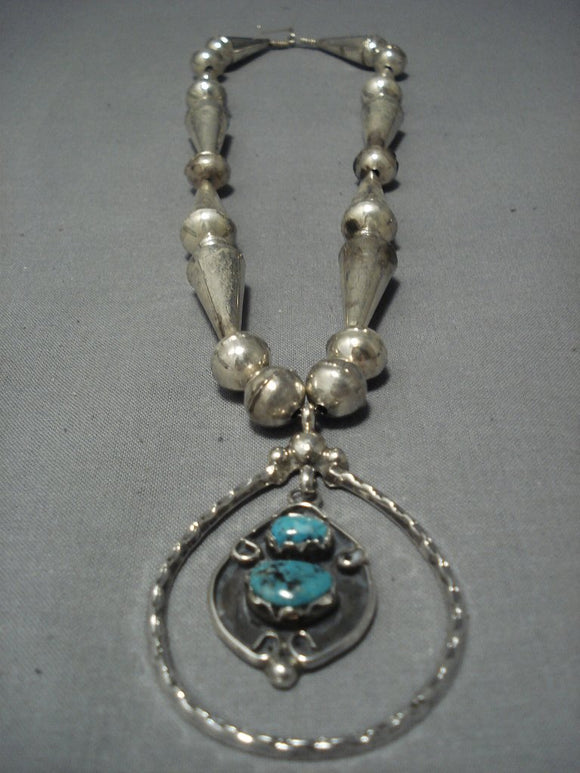Magnificent Vintage Navajo Turquoise Sterling Native American Jewelry Silver Necklace Old-Nativo Arts