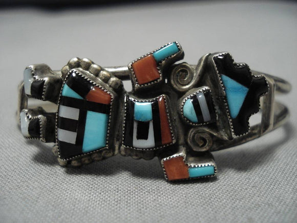 Magnificent Vintage Zuni Rainbow Man Sterling Silver Native American Bracelet-Nativo Arts