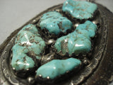 "Mammoth Vintage Navajo """"chunk Turquoise"""" Native American Jewelry Silver Necklace Old Vtg-Nativo Arts"
