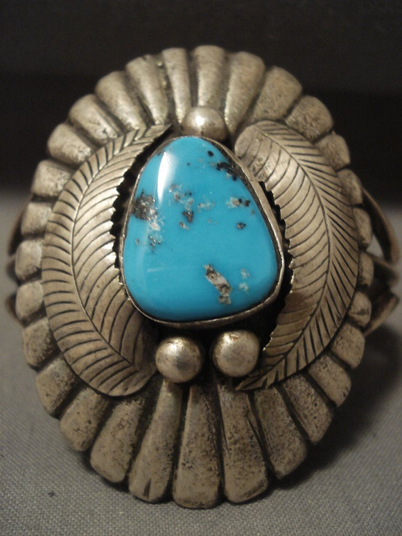 Mammoth Vintage Navajo 'Duel Technique' Persian Turquoise Native American Jewelry Silver Bracelet-Nativo Arts