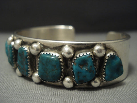 Marvelous Dark Green Vintage Navajo Turquoise Sterling Native American Jewelry Silver Bracelet Old-Nativo Arts
