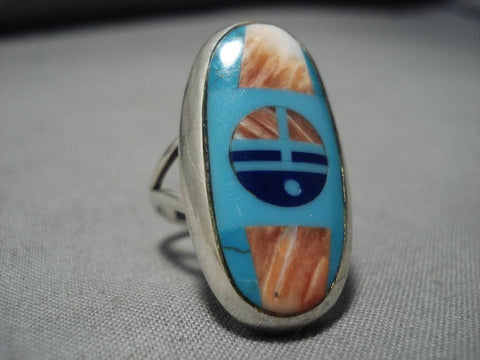 Marvelous Vintage Native American Navajo Frank Yellowhorse Turquoise Sterling Silver Ring-Nativo Arts