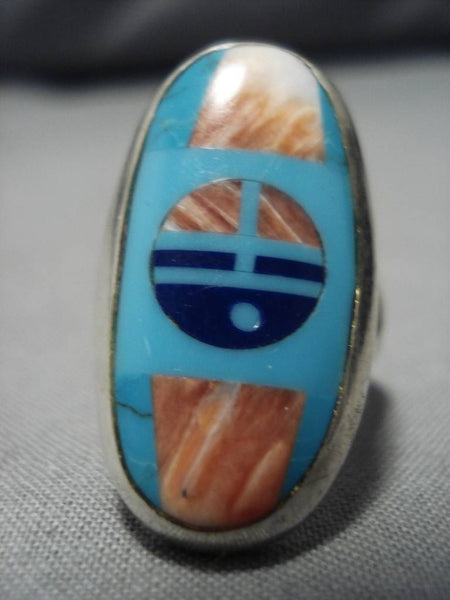 Marvelous Vintage Native American Navajo Frank Yellowhorse Turquoise Sterling Silver Ring