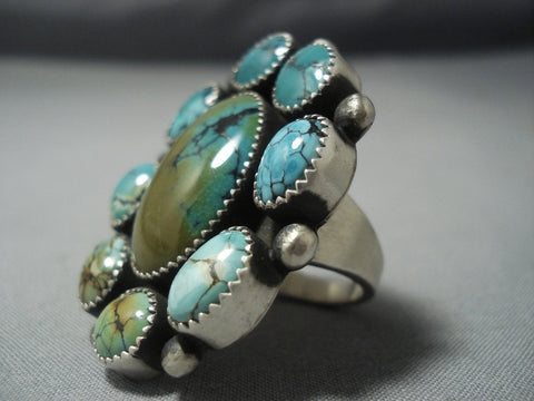 Marvelous Vintage Navajo Blue Green Turquoise Sterling Native American Jewelry Silver Ring Old-Nativo Arts
