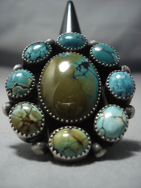 Marvelous Vintage Navajo Blue Green Turquoise Sterling Native American Jewelry Silver Ring Old