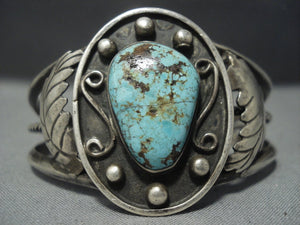 Marvelous Vintage Navajo Green Turquoise Sterling Native American Jewelry Silver Bracelet Old-Nativo Arts