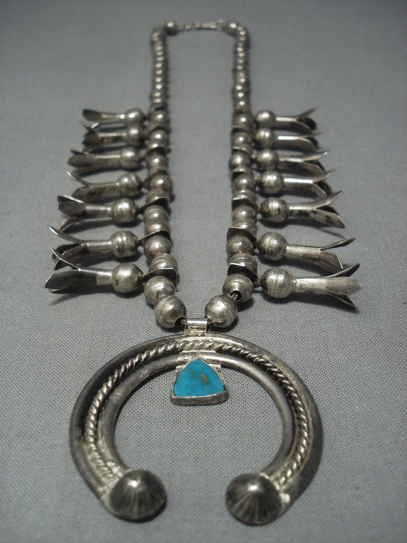Marvelous Vintage Navajo Native American Jewelry jewelry Sterling Silver Squash Blossom Necklace-Nativo Arts