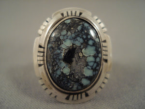 Marvelous Vintage Navajo Spiderweb Turquoise Sterling Native American Jewelry Silver Ring-Nativo Arts