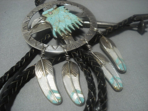 Marvelous Vintage Navajo Turquoise Eagle Hand Carved Sterling Silver Bolo Tie!-Nativo Arts