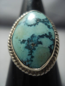 Marvelous Vintage Navajo Turquoise Sterling Native American Jewelry Silver Ring Old-Nativo Arts