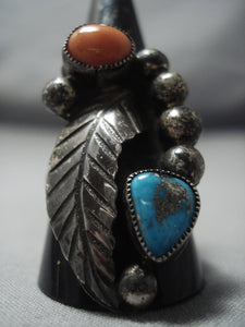 Marvelous Vintage Navajo Vivki Martin Turquoise Sterling Native American Jewelry Silver Ring Old-Nativo Arts