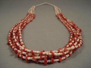 Marvelous Vintage Santo Domingo Coral Heishi Necklace Old Pawn-Nativo Arts