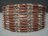 Marvelous Vintage Zuni Coral Needlepoint Sterling Silver Bracelet-Nativo Arts